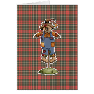 cute scarecrow bear greeting card