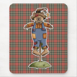 cute scarecrow bear mouse pad