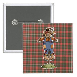 cute scarecrow bear pinback buttons