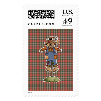 cute scarecrow bear postage stamps