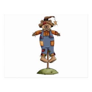 cute scarecrow bear postcard