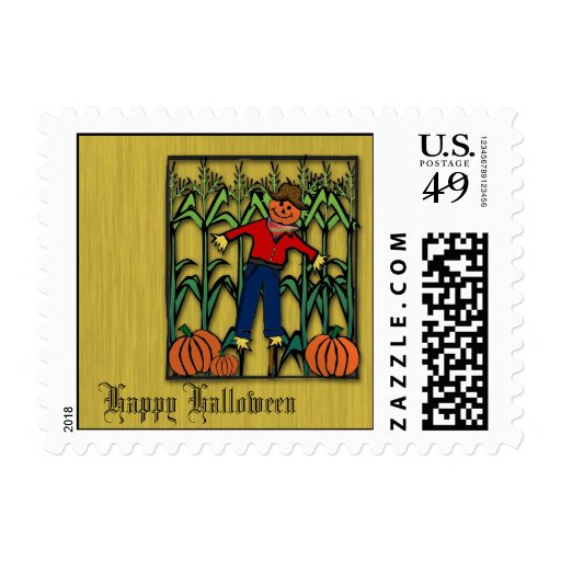 Cute Scarecrow in a Corn Field Halloween Postage
