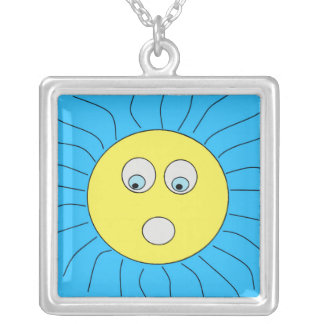 Cute Scared Expression Sun Drawing Blue Silver Plated Necklace