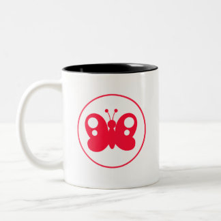 Cute Scarlet Red Buttefly Two-Tone Coffee Mug