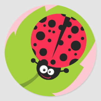 Cute Scarlet Red Ladybug Classic Round Sticker