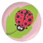 Cute Scarlet Red Ladybug Dinner Plates