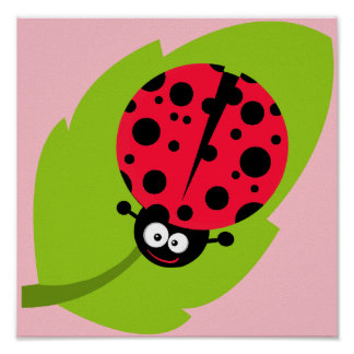 Cute Scarlet Red Ladybug Poster