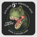 """Cute Scary Dinosaur Square Sticker<br><div class=""""desc"""">Is this scary Tyrannosaurus isn't looking for supper,  he really is trying hard to be friendly,  and wants to wish a special child a very HAPPY BIRTHDAY! Customize the child's name and age.</div>"""