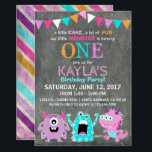 """Cute Scary Little Monsters Birthday Invitation<br><div class=""""desc"""">Cute and scary little monsters on chalkboard background with colorful grunge stripe back design birthday invitation card.</div>"""