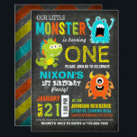"""Cute Scary Little Monsters Birthday Invitation<br><div class=""""desc"""">Cute and scary little monsters on chalkboard background with colorful grunge chevron print back design birthday invitation card.</div>"""