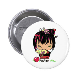 Cute Scary Miao - gothic kokeshi doll Buttons