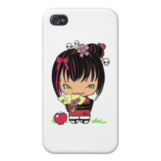 Cute Scary Miao - gothic kokeshi doll Covers For iPhone 4