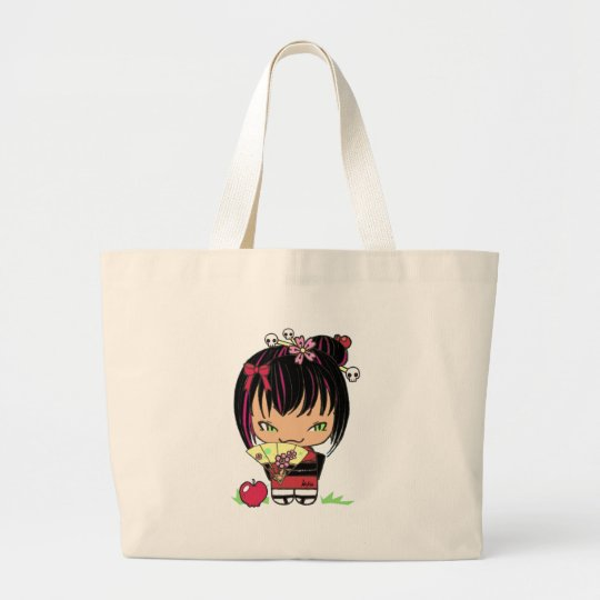 Cute Scary Miao - gothic kokeshi doll Large Tote Bag