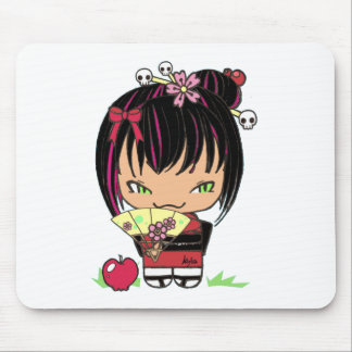 Cute Scary Miao - gothic kokeshi doll Mouse Pad