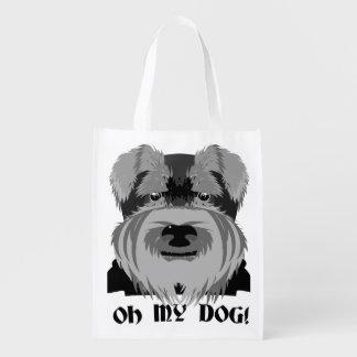 Cute Schnauzer Oh My Dog Grocery Bag