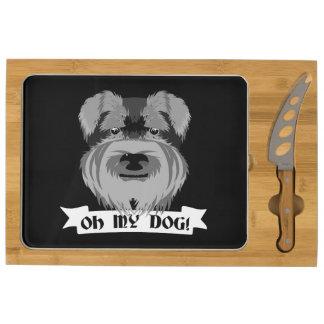 Cute Schnauzer Oh My Dog Rectangular Cheeseboard