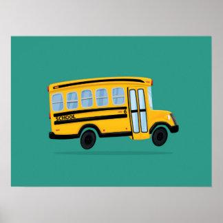 Cute School Bus Art Poster
