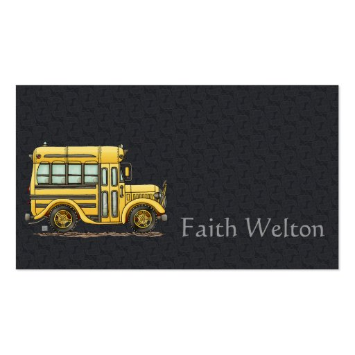 cute school bus business card templates zazzle. Black Bedroom Furniture Sets. Home Design Ideas