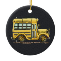 Cute School Bus Ceramic Ornament