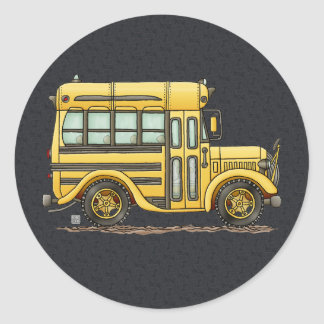 Cute School Bus Classic Round Sticker