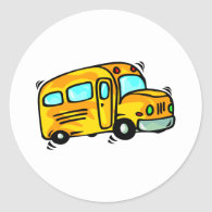 Cute School Bus Classic Round Sticker
