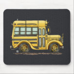 "Cute School Bus Mouse Pad<br><div class=""desc"">These images of fun things we ride art belong to an ongoing series of everyday things such as airplanes, motorcycles, tractors, pedal cars created by Richard Neuman in his rural studio near McComb, Ohio. Busses, airplanes, motorcycles, tractors, peddle cars, golf carts, bicycles of all kinds have fascinated people of all...</div>"