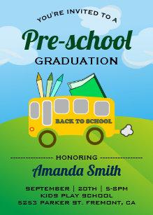 Preschool graduation invitations zazzle cute school bus preschool graduation invitation filmwisefo