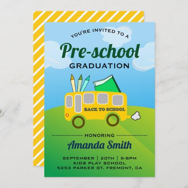 Cute School Bus Preschool Graduation Invitation