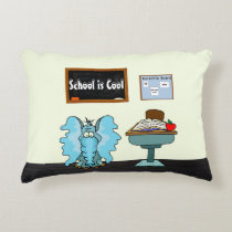 "Cute ""School Is Cool"" Accent Pillow w/Funny Animal"