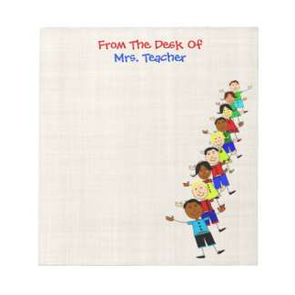 Cute School Kids Illustration For Teachers Notepad