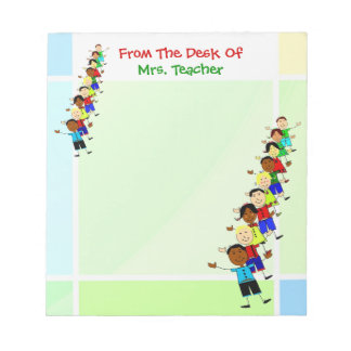 Cute School Kids Illustration For Teachers Notepad