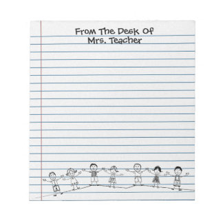 Cute School Kids Teacher Notepad