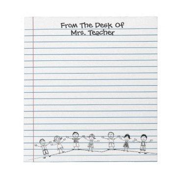 mvdesigns Cute School Kids Teacher Notepad
