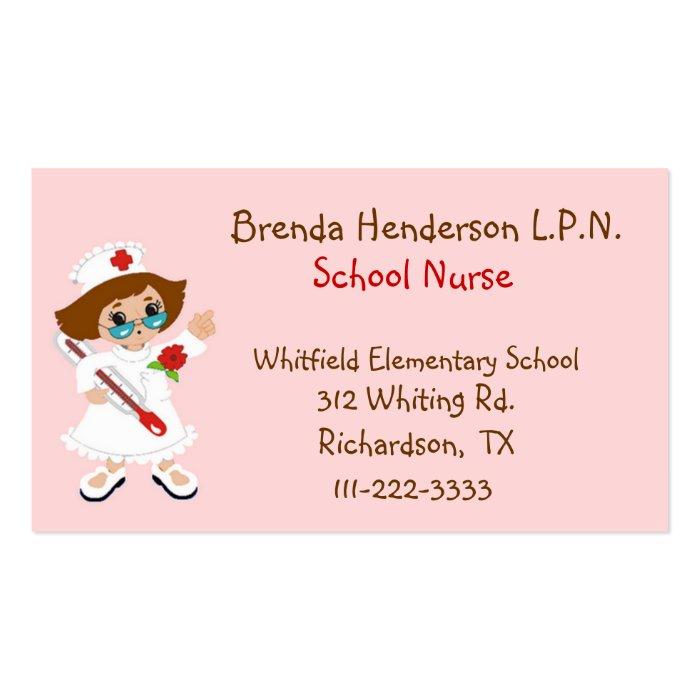 Cute School Nurse Business Card