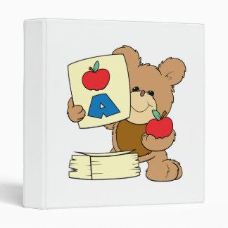 cute school teddy bear A is for Apple Binder