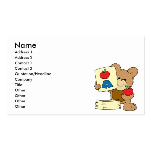 cute school teddy bear A is for Apple Double-Sided Standard Business Cards (Pack Of 100)