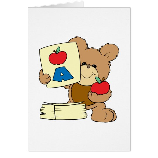 cute school teddy bear A is for Apple Card