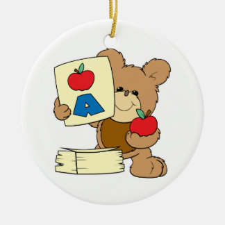cute school teddy bear A is for Apple Ceramic Ornament