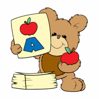 cute school teddy bear A is for Apple Cutout