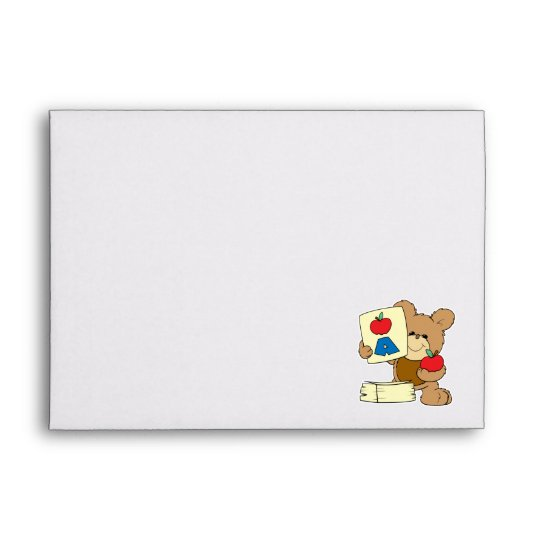 cute school teddy bear A is for Apple Envelope