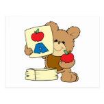 cute school teddy bear A is for Apple Postcard