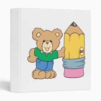 cute school teddy bear with pencil 3 ring binder