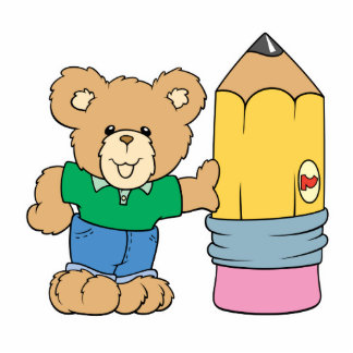 cute school teddy bear with pencil cutout