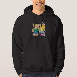 cute school teddy bear with pencil hoodie