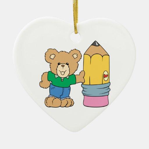 cute school teddy bear with pencil ornament