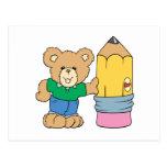 cute school teddy bear with pencil post card