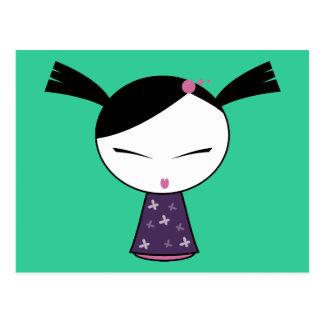 Cute Schoolgirl Doll Postcard