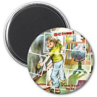 Cute Schoolteachers Helper Design 2 Inch Round Magnet