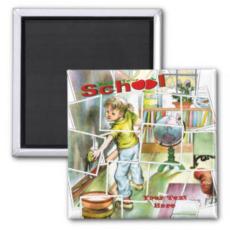 Cute Schoolteachers Helper Design 2 Inch Square Magnet