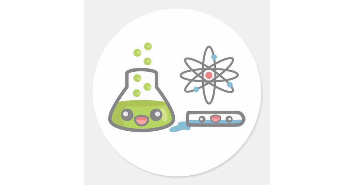 Cute Science Equipment Classic Round Sticker Zazzle
